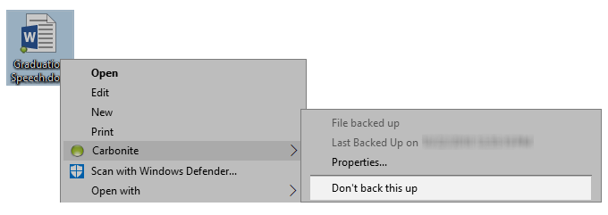 Windows Explorer: Right-click; Carbonite; Don't back this up
