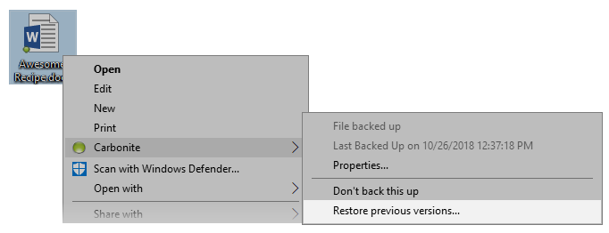 Carbonite Context Menu: Restore Previous Version
