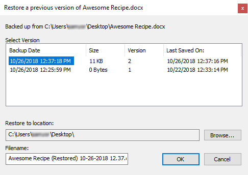 Restore Previous Version Dialog Box