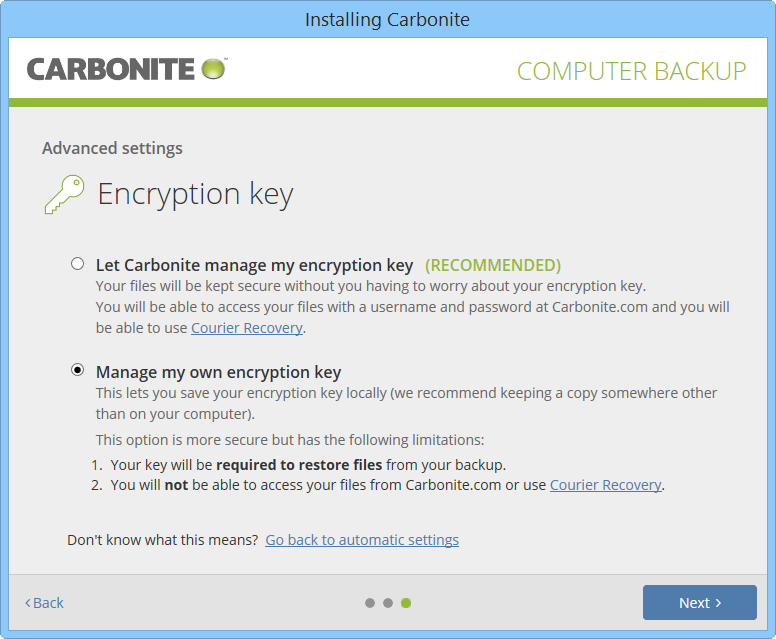 Manage Encryption Key