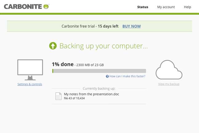 Carbonite application: View Status of Backup and MI settings