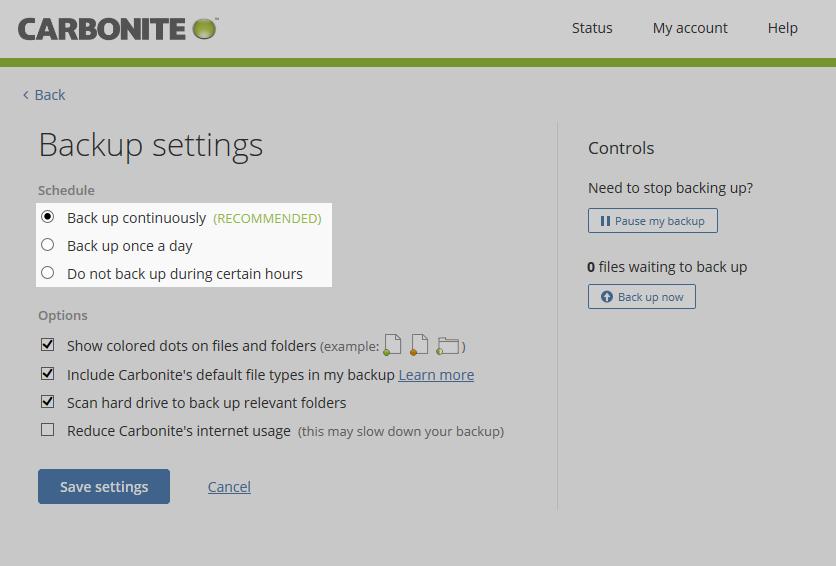 Carbonite Windows Client: Backup settings