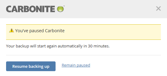 Carbonite is Paused