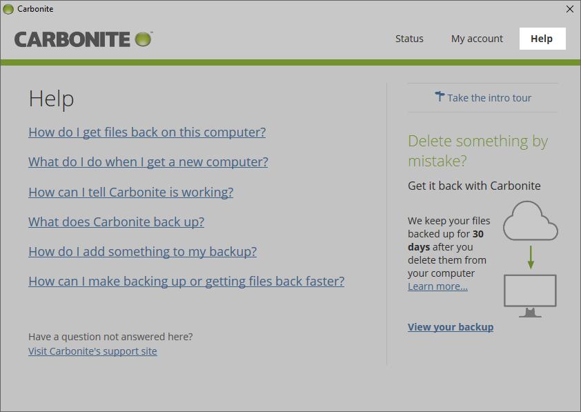 Carbonite Windows Client: Click Help