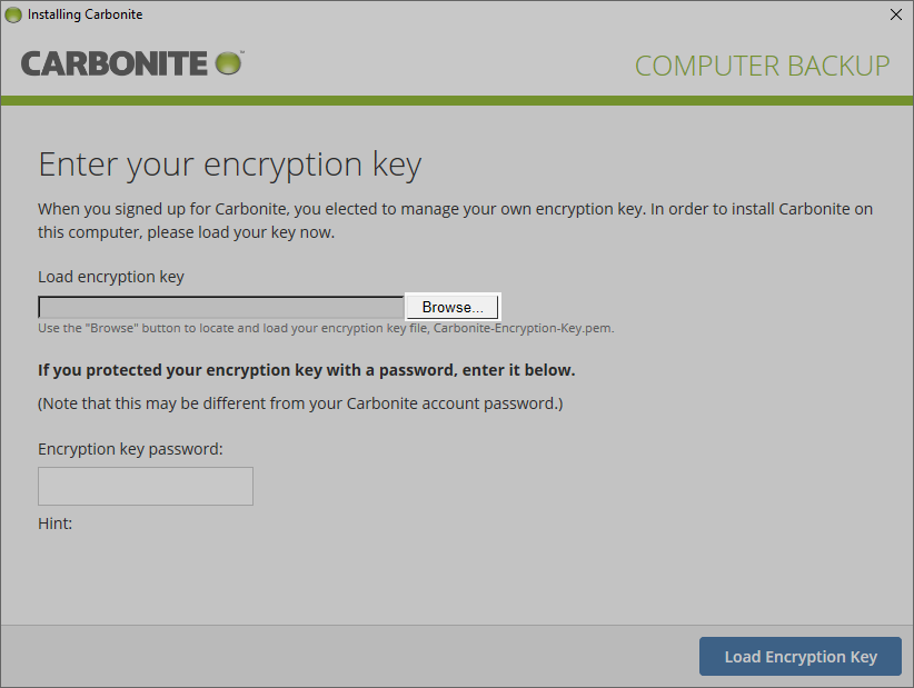 Select browse to browse to your encryption key