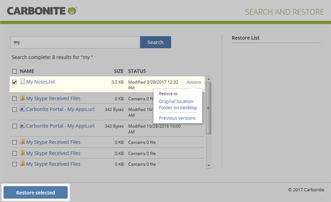 Restore to: Original location, Folder on desktop, previous versions