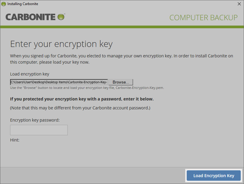 Select load encryption key to continue reinstalling