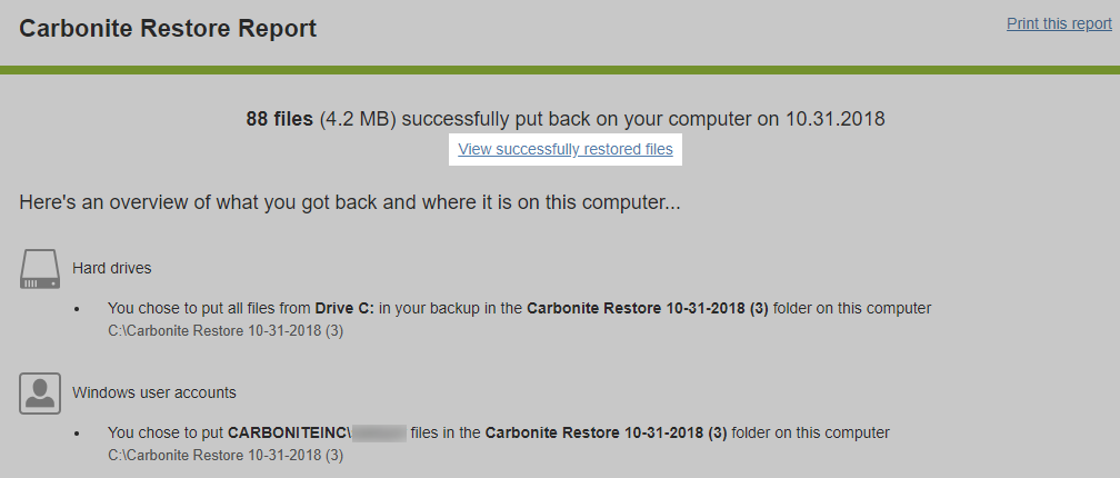 Carbonite Windows Client: View successfully restored files
