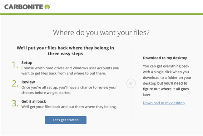 Carbonite Windows Client: Where do you want your files?