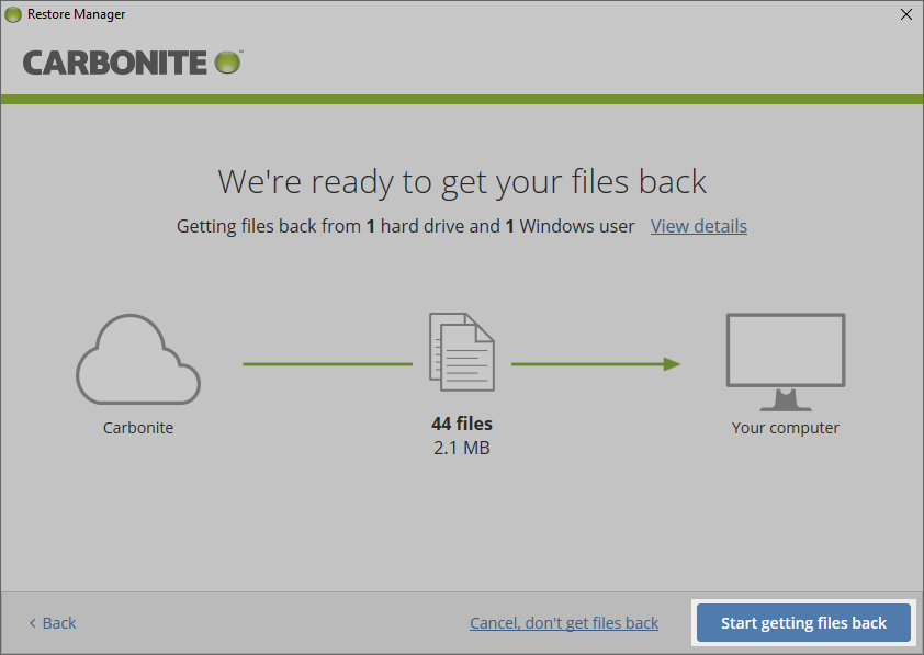 Carbonite Windows Client: Start getting files back