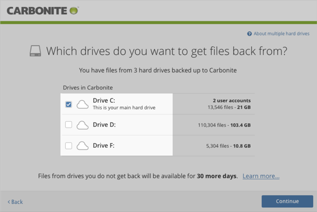 Carbonite Windows Client: Which drives do you want to get files back from?