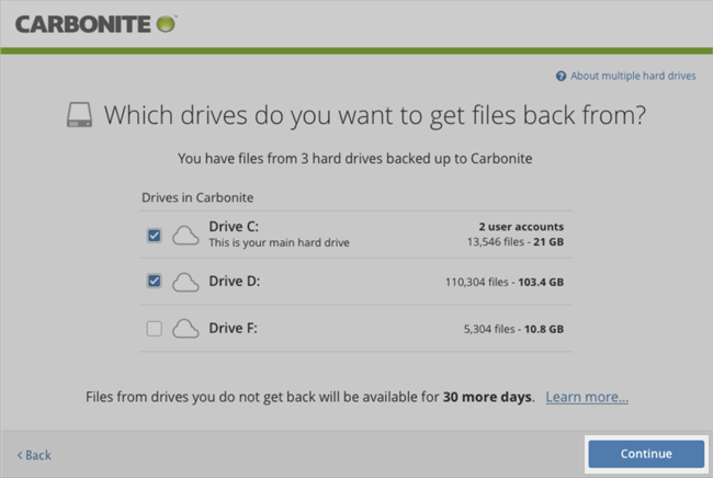Carbonite Windows Client: Drives in Carbonite selected.