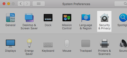 macOS System Preferences: Click Security & Privacy