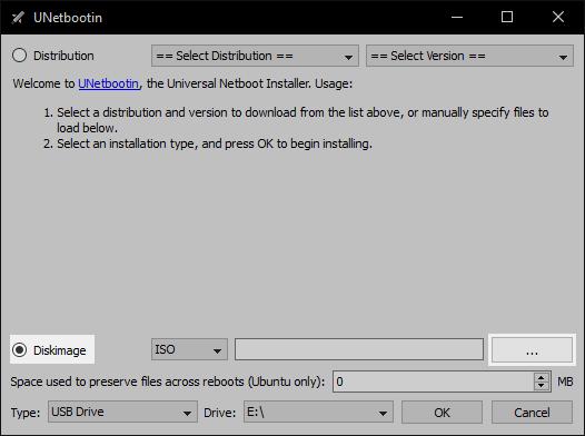 UNetbootin: Select Diskimage