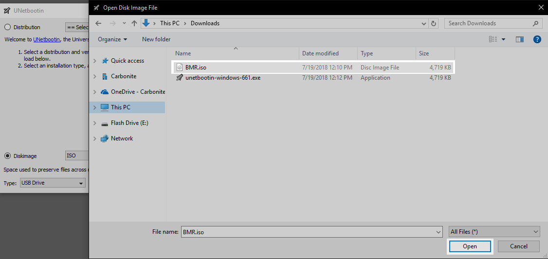 UNetbootin: Select BMR.iso file and click Open