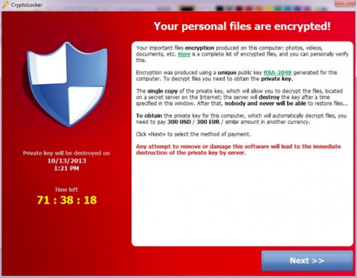 CryptoLocker Window: Your personal files are encrypted!
