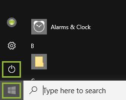 Windows 10 Start Menu: Power