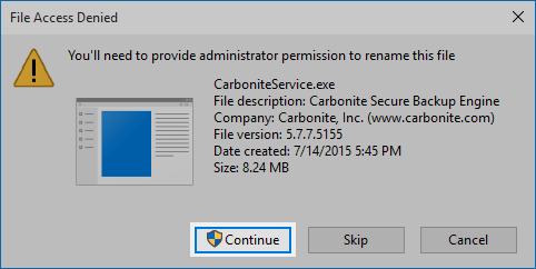 Windows 10 File Access Denied Window: Click Continue