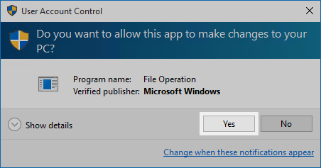 Windows 10 User Account Control: Do you want to allow this app to make changes to your PC? Yes