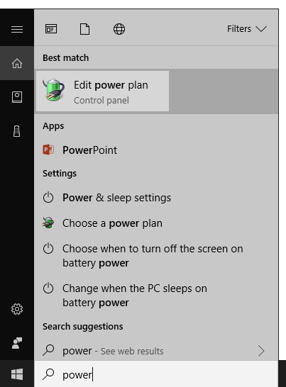 Power Options in Start Menu Search Results