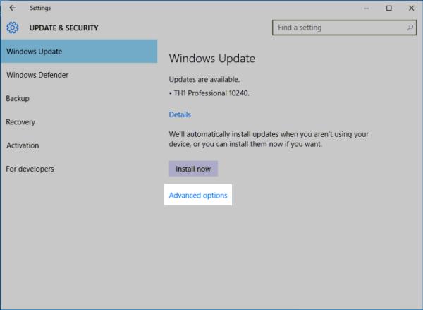 Windows 10 Update: Advanced options