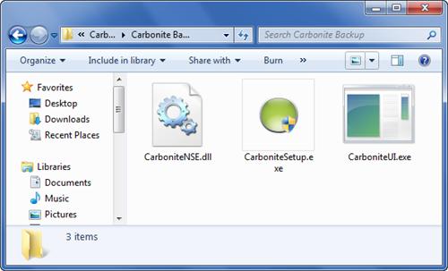 Windows 7 File Explorer: Navigate to C:\Program Files (x86)\Carbonite\Carbonite Backup