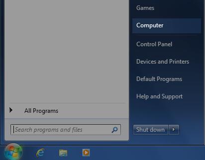 Windows 7 Start menu: Click Computer