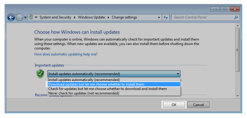 Windows 7 Windows Settings: Download updated but let me choose whether to install them