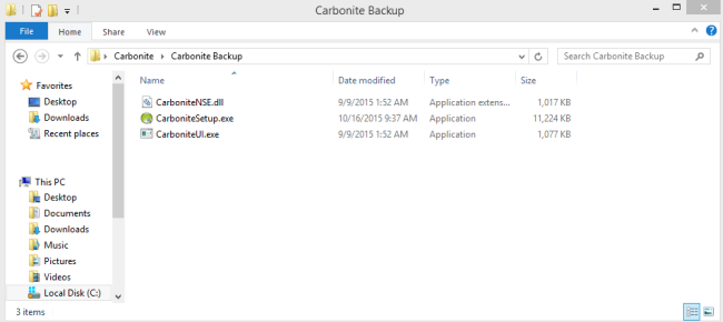 Windows 8 File Explorer: Navigate to C:\Program Files (x86)\Carbonite\Carbonite Backup