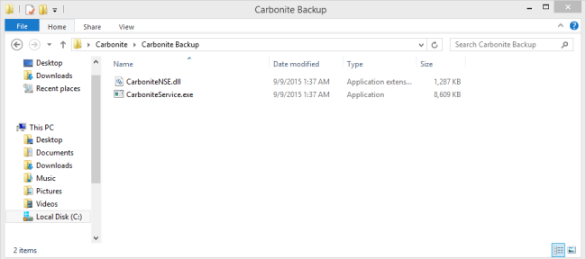Windows 8 File Explorer: Navigate to C:\Program Files\Carbonite\Carbonite Backup