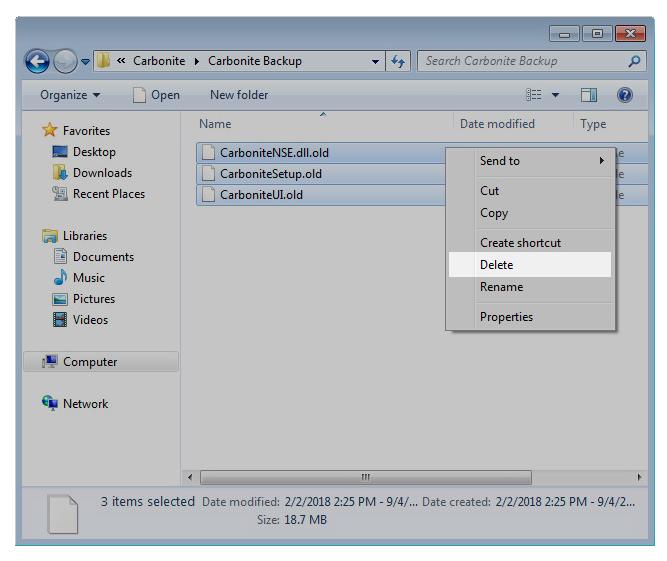 Windows 8 File Explorer: Right-click the Carbonite files and select Delete