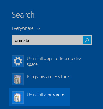 Windows 8 Settings: Search for Uninstall and click Uninstall a program