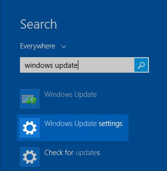 Windows 8 Search for windows update