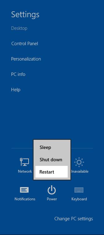 Windows 8 Settings charm: Click Power; Restart