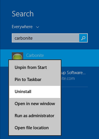Windows 8 Start Menu: Right-click Carbonite and select Uninstall
