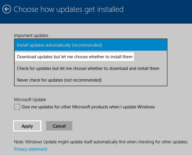 Windows 8 Windows Update settings: Download updates but let me choose whether to install them