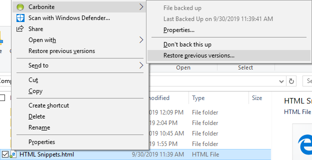 Restore Previous Versions by right-clicking in File Explorer