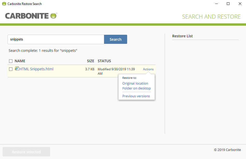 Search and Restore search results