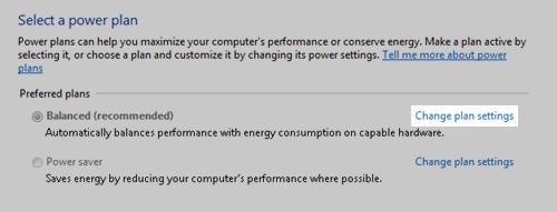 Power Options Properties: Change Plan