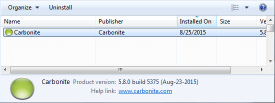 Windows Programs and Features: Select Carbonite and click Uninstall