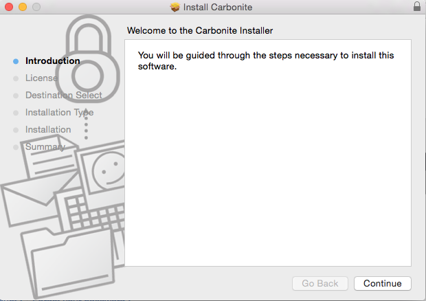 Carbonite Mac 1.x Client: Welcome to the Carbonite Installer