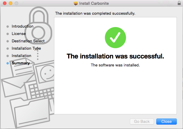 Carbonite Mac 1.x Client: The installation was successfull.