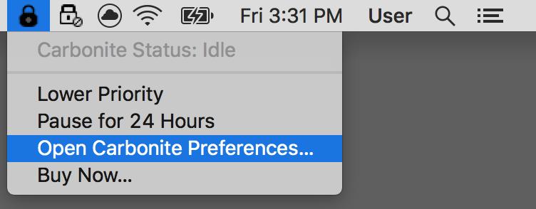 Carbonite Mac 1.x Client Icon: Open Carbonite Prferences...