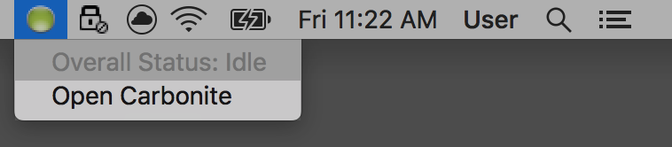 macOS: From the status bar, click the Carbonite icon and select Open Carbonite.