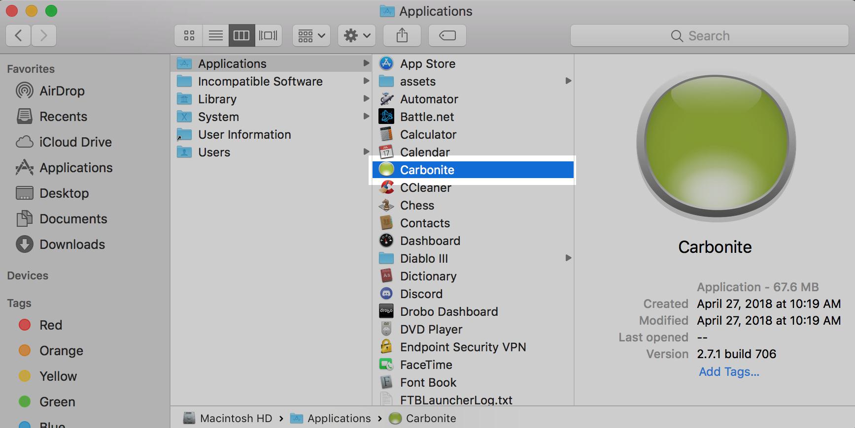 Remove the Carbonite Folder
