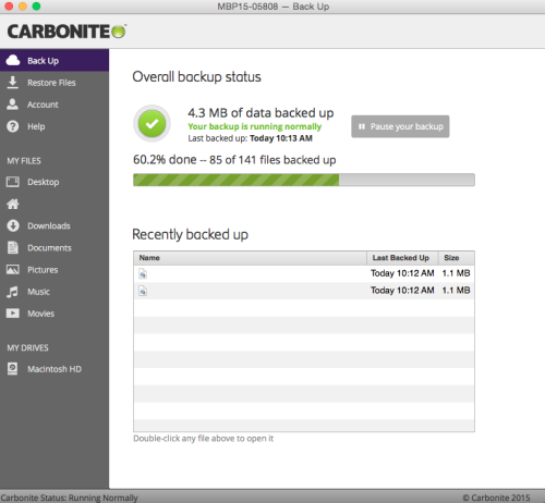 Carbonite 2.x Client: Click Restore Files