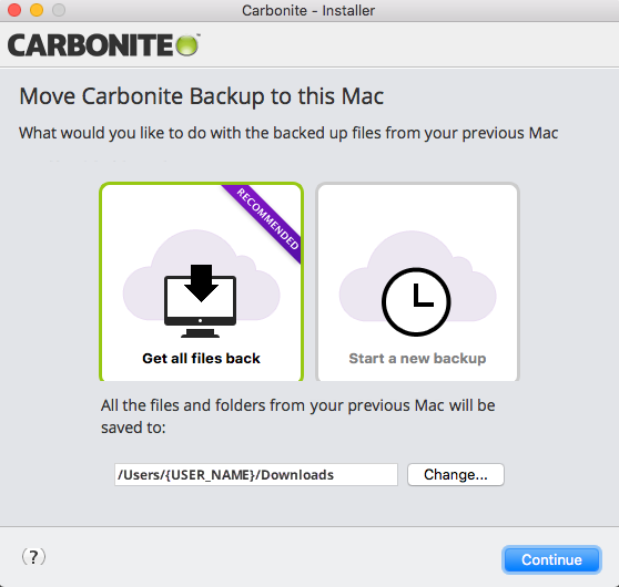 Move Carbonite Backup to this Mac, Restoring with Carbonite 2.x