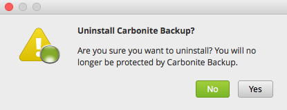 Do you wish to uninstall Carbonite?