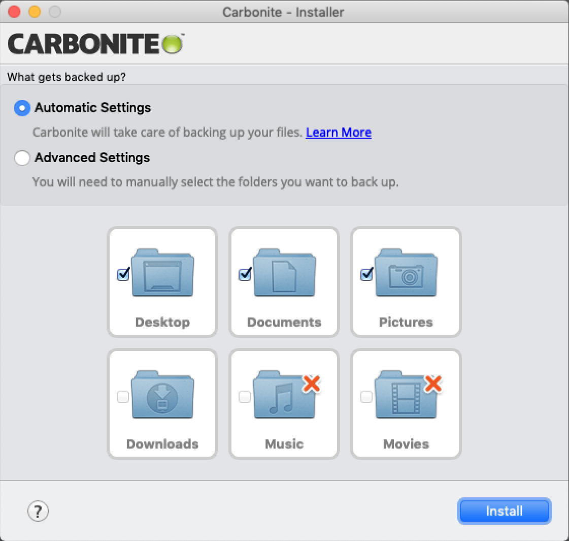 Carbonite 2.x Client: Select folders you want to back up