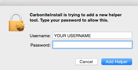 Carbonite Mac 2.x Client: CarboniteInstall is trying to add a new helper tool. Type your password to allow this.